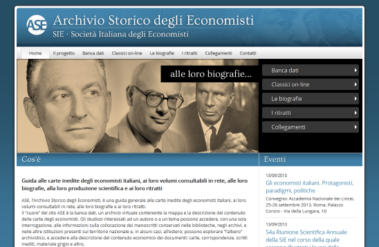On-line il nuovo sito web dell'Archivio Storico degli Economisti